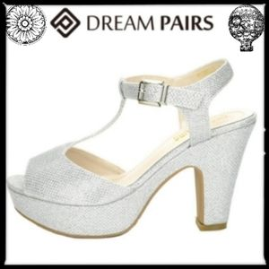 Dream Pairs Gorgeous Silver Glitzy Platforms, 10 M